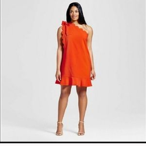 Victoria Beckham orange dress